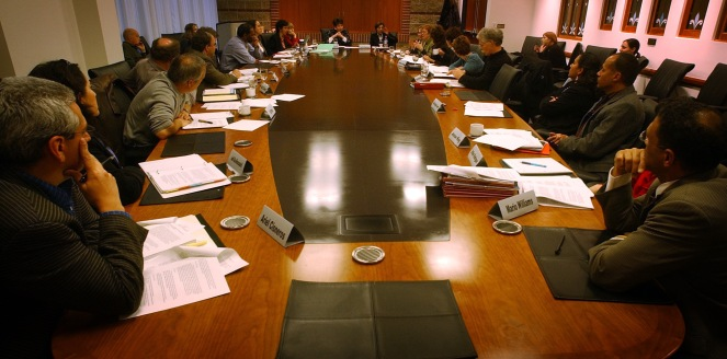 DENVER, CO. MONDAY, JANUARY 31, 2005- The Denver Public Schools Commission on Secondary School Reform met behind open doors at the National Jewish Hospital board room. The commission was going to evoke executive session privilege to shield the meeting fro